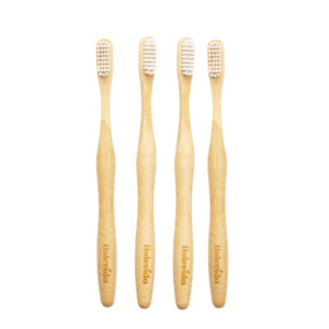 4 pack of medium bristle bamboo toothbrushes